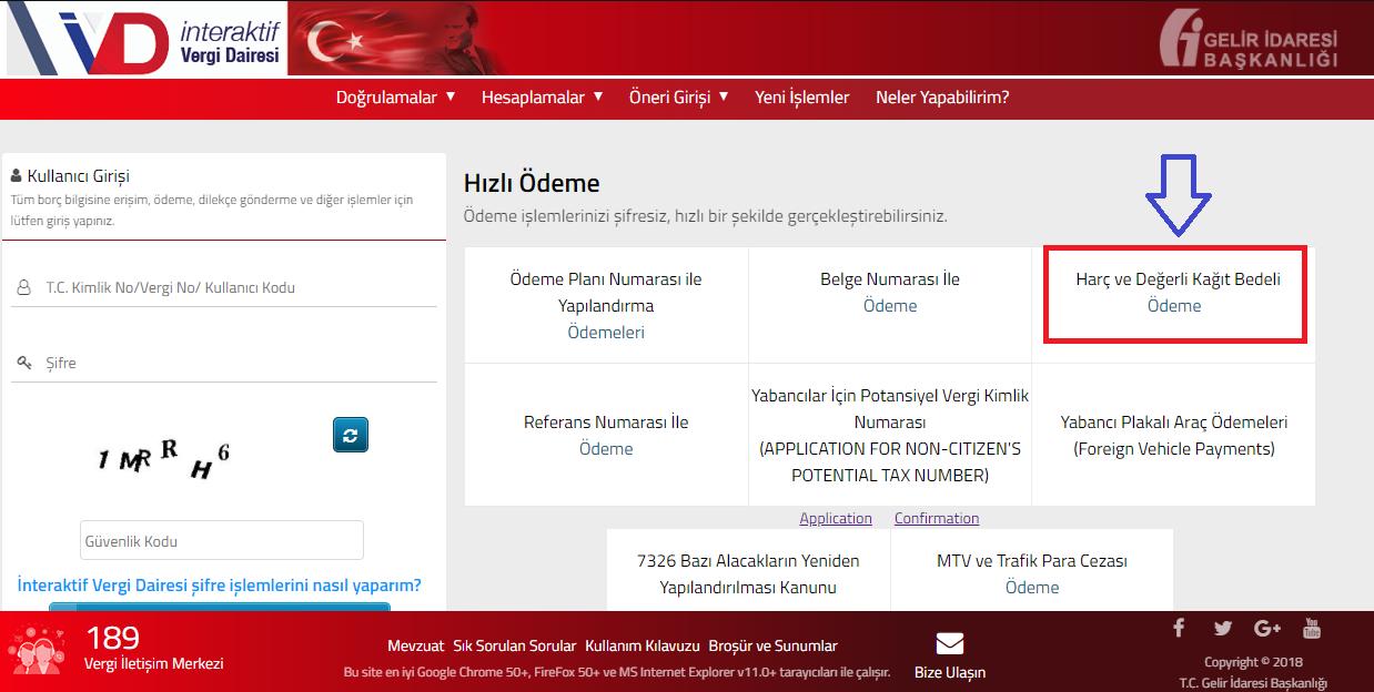 GİB Online Odeme Adım1